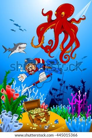 diver exploring treasure in sea - vector illustration - stock vector