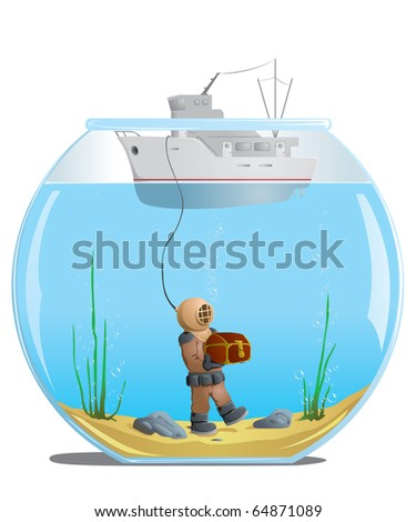 diver in the aquarium with a treasure - stock vector