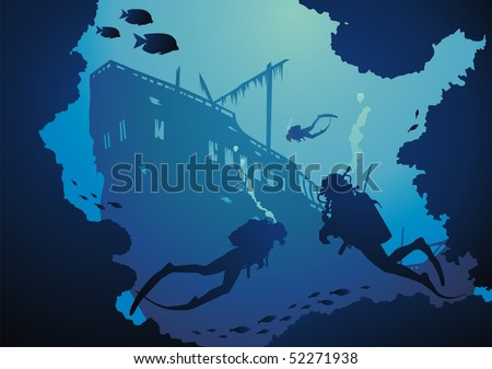 Divers among reeves float to the sunk ship - stock vector