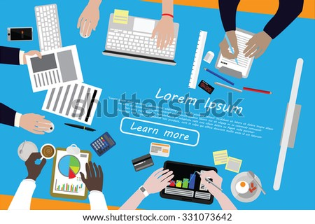 Diverse businesspeople working, sharing idea, presenting, communicating, discussing, at meeting table. Flat design. Top view. - stock vector