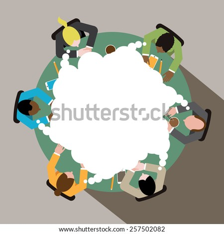 Diverse group of business men and women thinking as a team at round conference table EPS 10 vector royalty free illustration for ads, poster, flier, signage, promotion, blog, marketing - stock vector