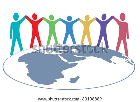 Diverse group of symbol people hold hands around map of planet earth. - stock vector