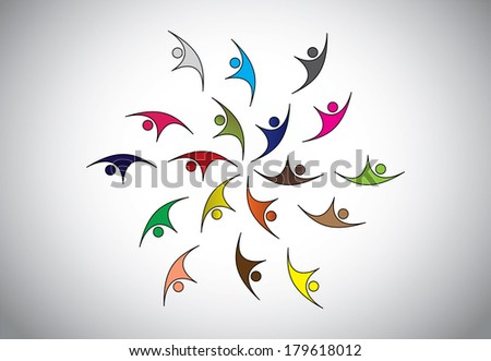 Diverse Happy Young people of different color celebrating event or occasion together jumping & dancing with joy & happiness – team strength concept illustration art  - stock vector