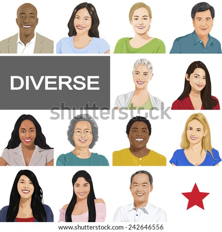 Diverse People on White Background Vector - stock vector