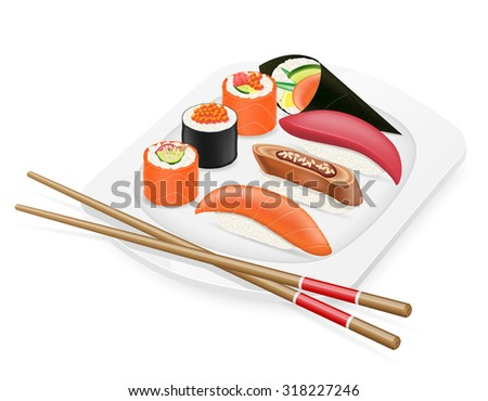 diverse set of sushi with chopsticks on a plate, vector illustration isolated on white background - stock vector