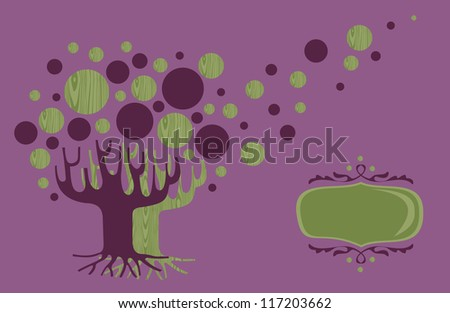 Diversity concept tree illustration greeting card template. Vector file layered for easy manipulation and custom coloring. - stock vector