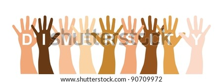 diversity hands over white background. vector illustration - stock vector