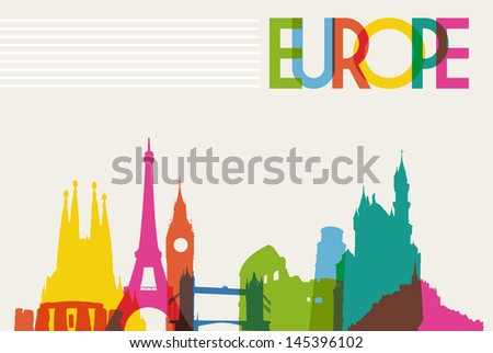 Diversity monuments of Europe, famous landmark colors transparency.  Vector illustration layered for easy manipulation and custom coloring. - stock vector