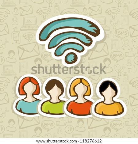 Diversity people connection via social networks RSS feed. Vector illustration layered for easy manipulation and custom coloring. - stock vector