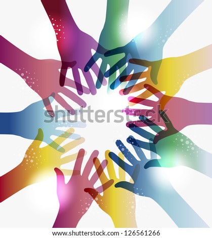 Diversity transparent hands circle isolated over white. EPS 10 vector illustration, cleanly built grouped and ordered in layers for easy editing. - stock vector