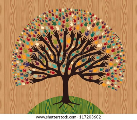 Diversity tree hands illustration for greeting card over wooden pattern. Vector file layered for easy manipulation and custom coloring. - stock vector