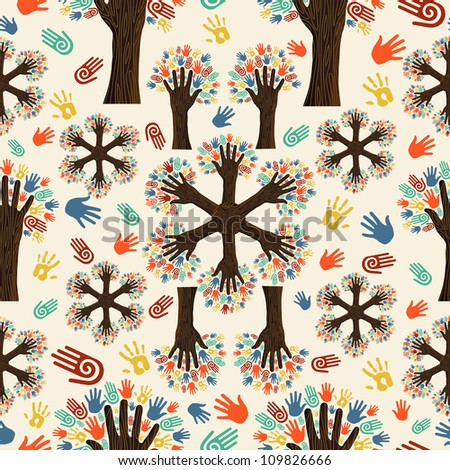 Diversity tree hands seamless pattern. Vector illustration layered for easy manipulation and custom coloring. - stock vector