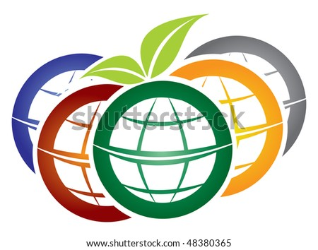 Diversity - vector illustration with multicolored globe and leaf