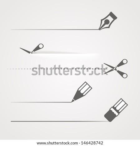 Dividers of scissors pen and crayon - stock vector