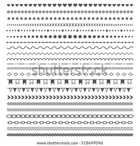 Dividers vector set isolated on white background. Geometric horizontal  vintage fashion pattern. Line border and text design element. Trendy styled ornaments. Each element is grouped for easy editing. - stock vector