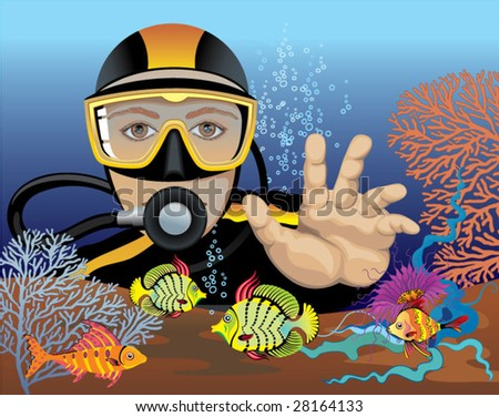 Diving - stock vector