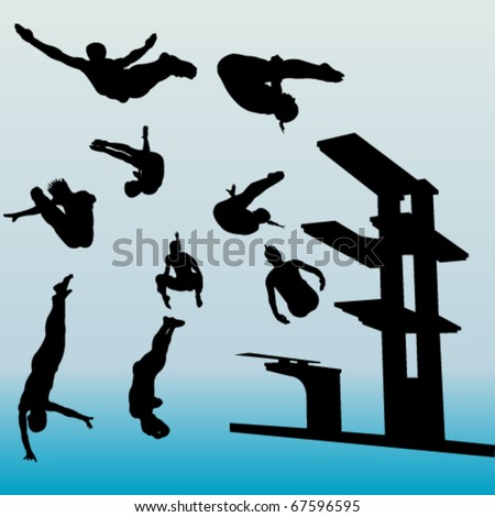 diving collection - vector - stock vector