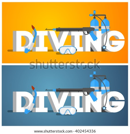 Diving equipment. Diving Mask. Diving snorkel. Diving oxygen tanks and Diving wetsuit. Diving Vector illustration. Diving gear. Diving tools. Diving in the sea. - stock vector