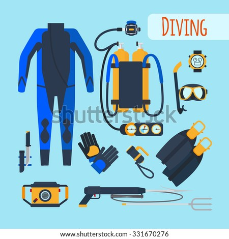 Diving equipment. Mask and snorkel, oxygen tanks and wetsuit. Vector illustration - stock vector