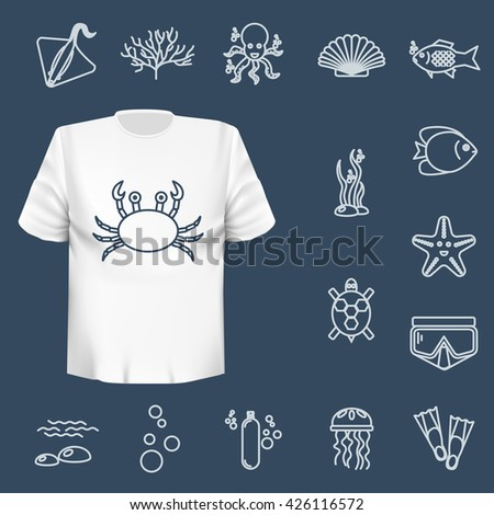 Diving icons set with fish and equipment. Vector