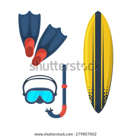 Diving swimming surfing accessories collection. Isolated vector symbols. - stock vector