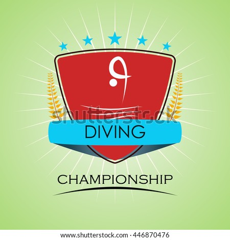 Diving - Winner Golden Laurel Seal with Golden Ribbon - Layered EPS 10 Vector - stock vector