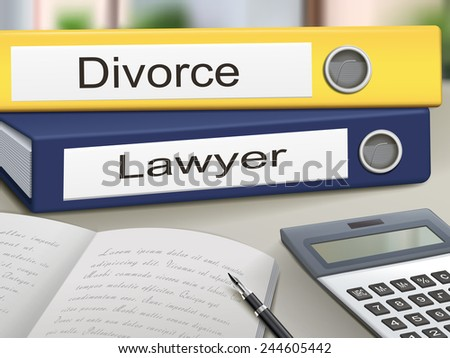 divorce and lawyer binders isolated on the office table - stock vector