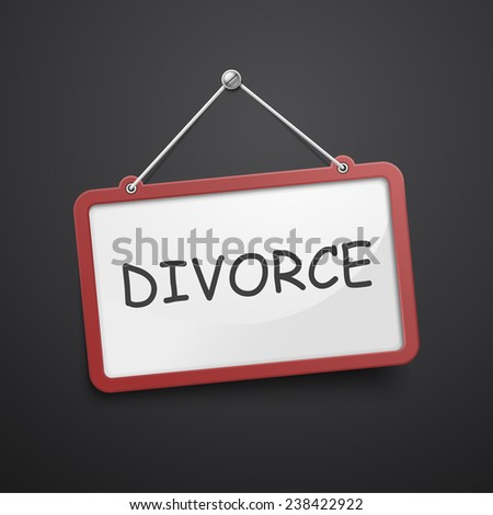 divorce hanging sign isolated on black wall  - stock vector