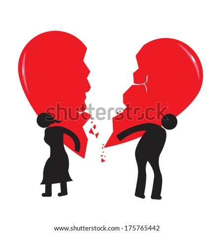 Divorce Heartache Concept. Broken Heart carried by stick man and woman. Isolated on white vector.  - stock vector