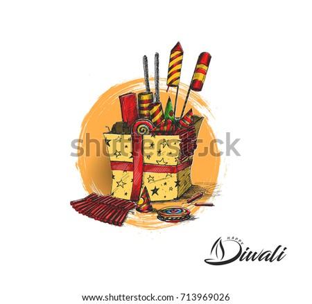 Diwali Crackers Gifthand Drawn Sketch Vector Stock Vector ...