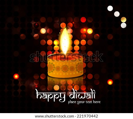 Diwali Diya Oil Lamp Indian festival colorful circle background   - stock vector
