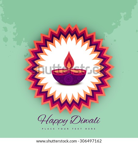 Diwali festival celebration card colorful vector background - stock vector