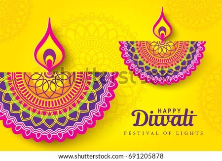 Diwali festival greeting card diwali diya stock vector 2018 diwali festival greeting card with diwali diya oil lamp m4hsunfo