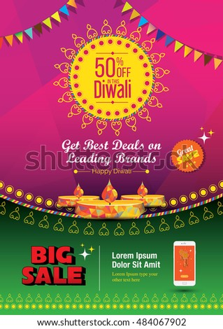 Diwali Festival Poster Design Template With 50 Discount Tag