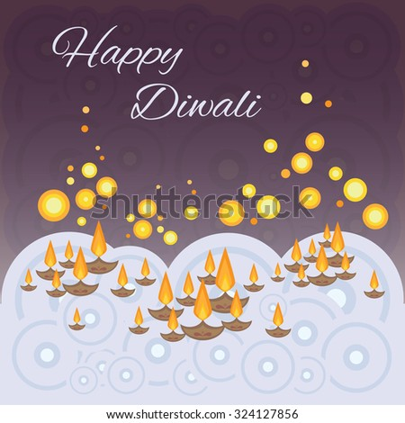 Diwali greeting card with lamps in river on the dark night sky stylized new modern cirlces vector image sparkles of fire with holiday mood