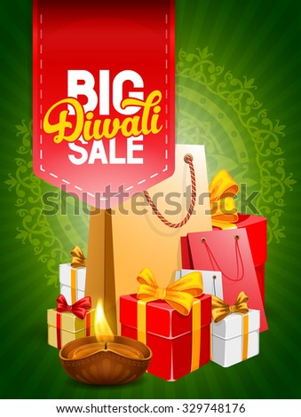 Diwali holiday big sale, bright green background for business promotion. Vector illustration. - stock vector