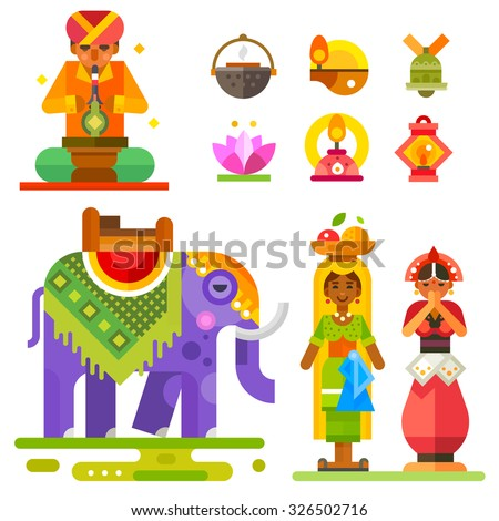 Diwali  - Indian festival of lights: Indian man and women, an elephant, lanterns, water lily flower. Flat stock vector illustration set.  - stock vector