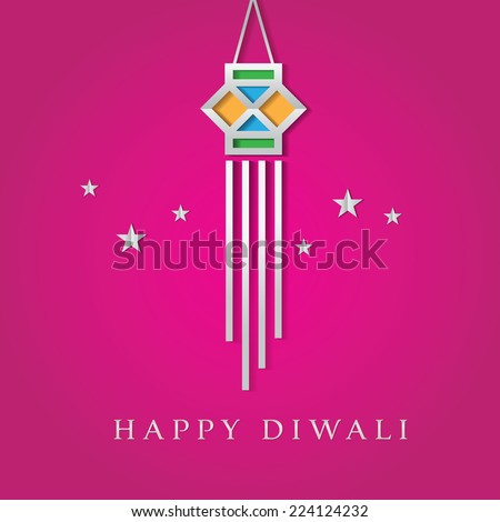 Diwali lantern vector graphic. A greeting card cover. - stock vector