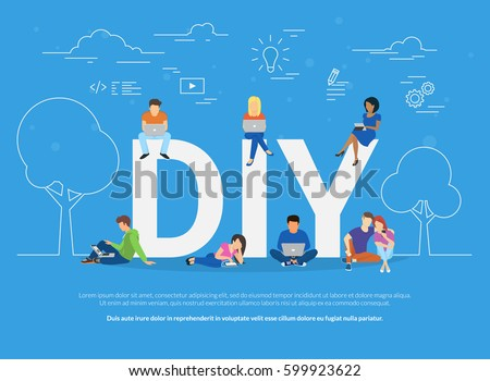 Diy concept vector illustration young people stock vector diy concept vector illustration of young people using devices for watching tutorials and life hacks solutioingenieria Gallery