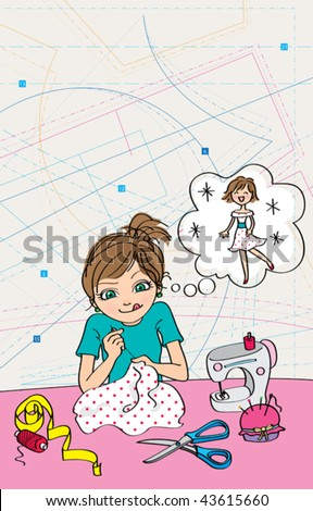 DIY dress. Vector illustration of a cute girl sewing a pretty dress for herself. - stock vector