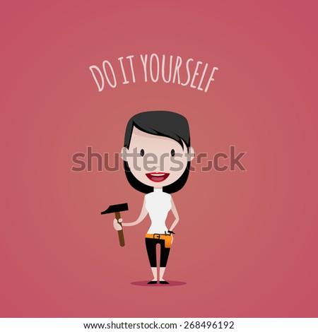DIY Girl - stock vector