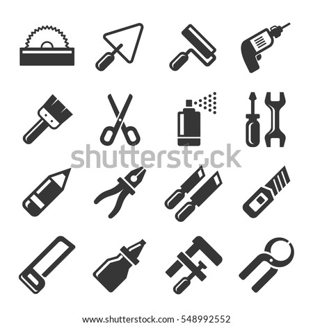 DIY Hand Tools Icons Set. Vector