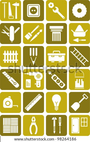 DIY tools icons - stock vector
