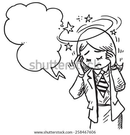 Dizzy businesswoman speaking something - stock vector