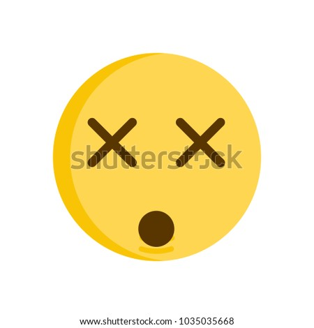 Dizzy emoticon face vector emoji with cross eyed face smiley icon