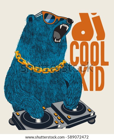 dj bear vector design for tee