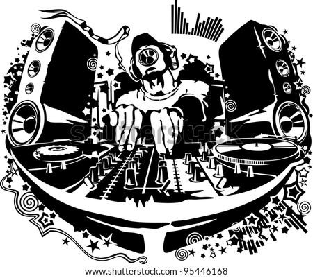 DJ behind the decks - stock vector