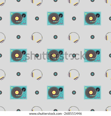 DJ booth and headphone pattern - stock vector