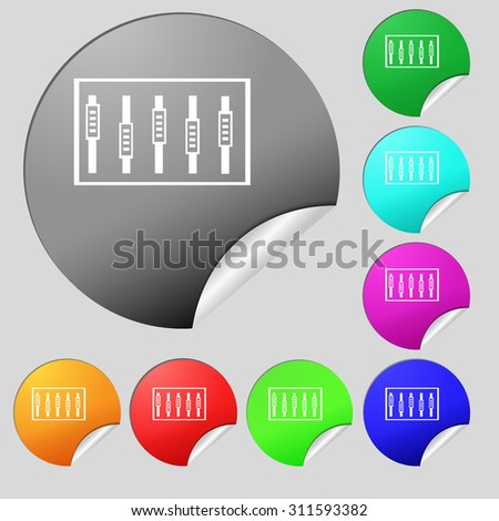 Dj console mix handles and buttons, level icons. Set of eight multi colored round buttons, stickers. Vector illustration - stock vector