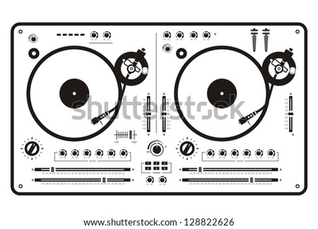 Dj double scratch turntable - stock vector